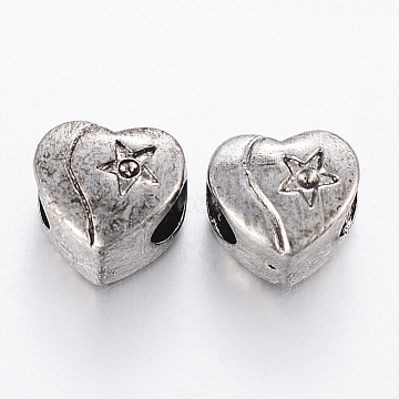 Antique Silver Heart Stainless Steel Beads