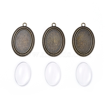 DIY Pendant Making, with Tibetan Style Alloy Pendant Cabochon Settings and Transparent Oval Glass Cabochons, Antique Bronze, Cabochons: 30x20x6mm, 1pc/set; Settings: 44x30x2mm, hole: 3mm, 1pc/set(DIY-X0293-55AB)