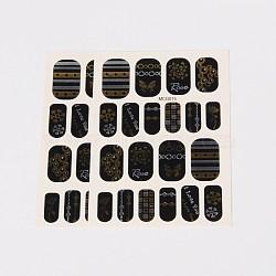 Autocollants en papier de tatouages temporaires de faux styles amovibles, métalliques ongles autocollants, or, 18~26x8~16 mm; environ 2 PCs / sac(AJEW-O025-14)