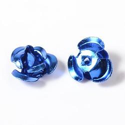 Flower Aluminum Beads, Dodger Blue, 7x4mm, Hole: 1mm(ALUM-I001-06)