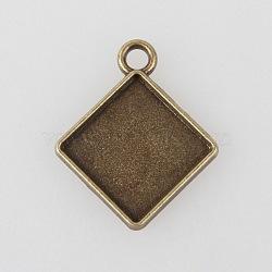 Supports cru tibétains en alliage losange pendentif cabochon de lunette, sans nickel, bronze antique, longueur du côté du plateau carré: 15 mm; 27x23x2mm, Trou: 3mm(X-TIBEP-M018-137AB-NF)