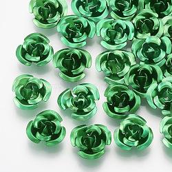 Perles en aluminium, Flower 3 pétales, mediumseagreen, 8.5~9x4.5mm, trou: 1 mm; environ 950 PCs / sachet (FALUM-T001-01B-03)