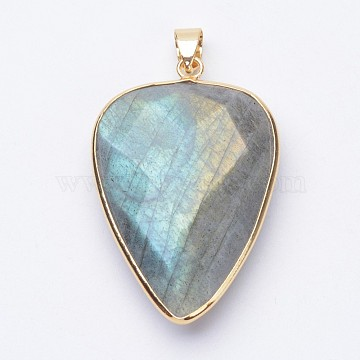 Faceted Natural Labradorite Pendants, with Golden Tone Brass Findings, teardrop, 40x27x7~9mm, Hole: 4x5mm(X-G-F340-02D)