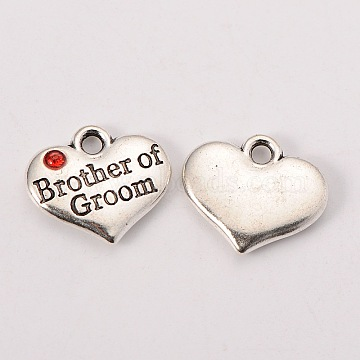 Wedding Party Supply Antique Silver Alloy Rhinestone Heart Carved Word Brother of Groom Wedding Family Charms, Cadmium Free & Lead Free, Hyacinth, 14x16x3mm, Hole: 2mm(X-TIBEP-N005-26B)