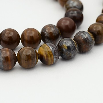 Natural Tiger Iron Bead Strands, 12mm, Hole: 1mm; about 33pcs/strand, 15.7 inches(G-P070-13-12mm)