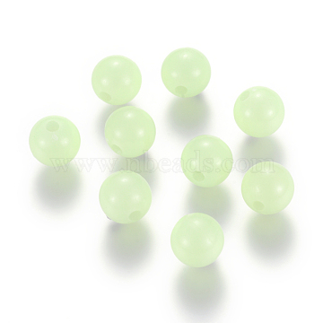 Luminous Acrylic Round Beads, PaleGreen, 6mm, Hole: 1.5mm; 100pcs(LACR-YW0001-01-6mm)