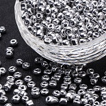 4mm Silver Glass Beads(SEED-Q005-02)
