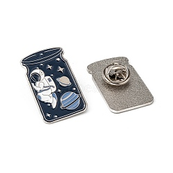 Creative Zinc Alloy Brooches, Enamel Lapel Pin, with Iron Butterfly Clutches or Rubber Clutches, Bottle with Spaceman, Platinum, 28x18mm; pin: 1mm(JEWB-R015-011P)