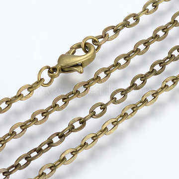 Iron Cable Chains Necklace Making, with Lobster Clasps, Unwelded, Antique Bronze, 23.6 inches(60cm)(X-MAK-R013-60cm-AB)