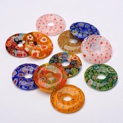 pendentifs en verre donut / pi disque millefiori, couleur mélangée, 29~30x4~6 mm, trou: 8 mm(LK-N001-09)