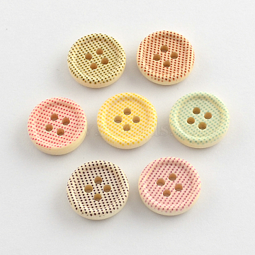 4-Hole Printed Wooden Buttons, Flat Round, Mixed Color, 15x4mm, Hole: 2mm(X-BUTT-R032-070)