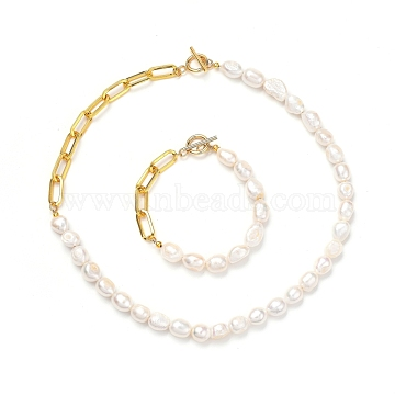 Natural Baroque Pearl Keshi Pearl Bracelets & Necklaces Sets, with Unwelded Iron Paperclip Chains and Brass Crimp Beads, 304 Stainless Steel Toggle Clasps, Golden, 7-3/4 inches(19.8cm), 17.48 inches(44.4cm), 2pcs/set(SJEW-JS01105)
