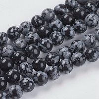 Natural Snowflake Obsidian Beads Strands, Round, Black, 6mm, Hole: 1mm