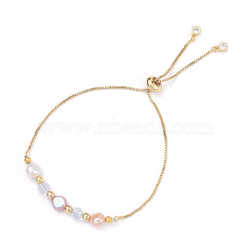 Adjustable Brass Slider Bracelets, Bolo Bracelets, with Natural Pearl, Glass Beads and Brass Beads, Golden, 10-5/8 inch(27cm)(BJEW-JB05182)