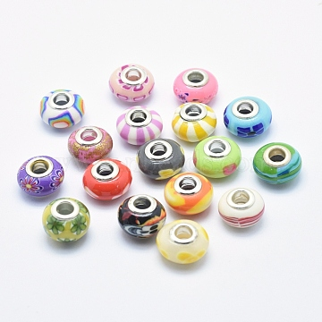 Handmade Polymer Clay European Beads, Large Hole Beads, Rondelle, Mixed Color, 13~16x8~11mm, Hole: 4.5~5mm(CLAY-K002-L27)