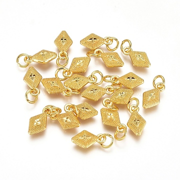 Electroplated Alloy Charms, Long-Lasting Plated, with Brass Jump Ring, Rhombus, Golden, 11.5x6.5x3.5mm, Hole: 3.5mm(X-PALLOY-G267-13G)