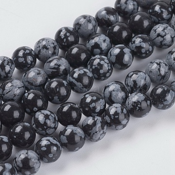 6mm Black Round Snowflake Obsidian Beads