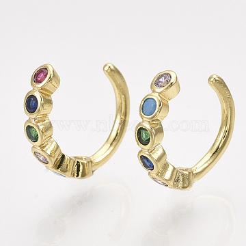 Brass Cubic Zirconia Cuff Earrings, Golden, Colorful, 10.5x3mm(EJEW-S201-186)