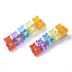 Little Girls Hair Accessories, Iron Alligator Hair Clips, with Resin Bear, Colorful, 57x18x20mm(PHAR-R177-01A)
