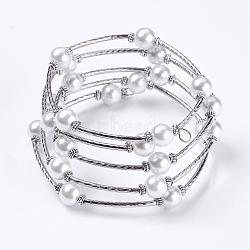 Bracelets enroulés à la mode, verre bracelets de perles avec des perles tubulaires, blanc, Bracelet: environ 60 mm de diamètre intérieur, vendu par 40 bracelets(X-J-JB00041-04)