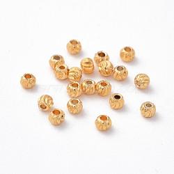 Perles ondulées en laiton, rond, Plaqué longue durée, véritable 24k plaqué or, 3x2.5mm, Trou: 1mm(X-KK-P117-12G)