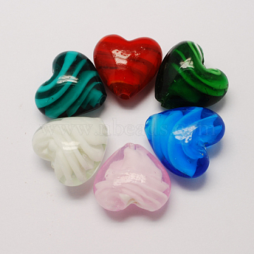 Handmade Lampwork Beads, Pearlized, Heart, Mixed Color, 20x20x13mm, Hole: 1.5mm(X-LAMP-S051-20x20mm-M)