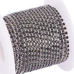 laiton strass chaînes de strass, avec bobine, chaîne de tasse de rhinestone, Environ 2880 pcs strass / paquet, Grade A, plaqué argent, jet, 2 mm; sur 10 mètres / rouleau(CHC-R125-S6-08S)