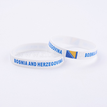 Silicone Bracelets Wristband Souvenir, with Flag Pattern, Bosnia and Herzegovina, White, 2-3/8 inches(61mm); 12mm(BJEW-TA0002-02B)