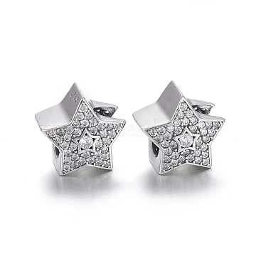 925 Sterling Silver European Beads, Large Hole Beads, with Cubic Zirconia, Carved with 925, Star, Thai Sterling Silver Plated, 11.5x12x9mm, Hole: 4.5mm(OPDL-L017-062TAS)