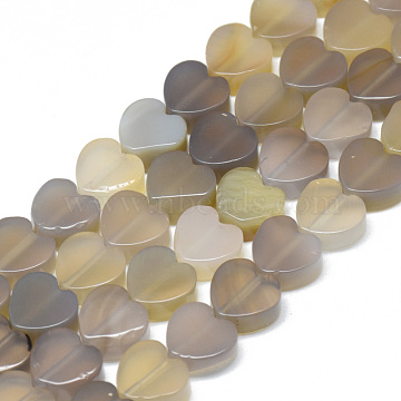 10mm Heart Grey Agate Beads