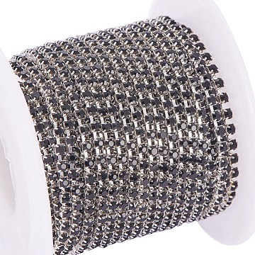 Brass Rhinestone Strass Chains, with Spool, Rhinestone Cup Chain, about 2880pcs Rhinestone/bundle, Grade A, Silver Color Plated, Jet, 2mm; about 10yards/roll(CHC-R125-S6-08S)