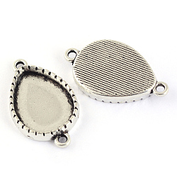 Tibetan Style Alloy Link Cabochon Settings, Drop, Lead Free, Antique Silver, Tray: 13.5x18.5mm; 27x16x3.5mm, Hole: 2mm(X-TIBEP-S301-08AS-LF)