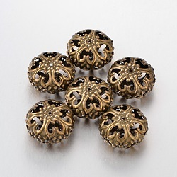 Nickel Free Iron Filigree Flat Round Beads, Antique Bronze Color, 23mm in diameter, 12.5mm thick, hole: 2mm(X-E060Y-NFAB)