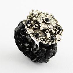 Anneaux de fleurs personnalisés, anneaux de strass en alliage, avec imitation cordon en cuir, noir, 16~17mm(RJEW-PJR007-B-5)