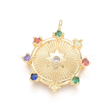 Brass Micro Pave Cubic Zirconia Pendants, Flat Round with Star, Colorful, Golden, 24x20.5x2.5mm, Hole: 1.5mm(X-ZIRC-L085-34G)