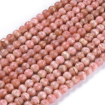 Natural Argentina Rhodochrosite Beads Strands, Round, 7.5mm, Hole: 0.8mm, about 56pcs/strand, 15.55 inches(39.5cm)(G-L554-03B)