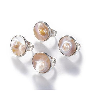 Adjustable Brass Rings, with Shell Pearl, Platinum, Seashell Color, 17~17.5mm; Shell: 22~23mm(RJEW-I059-01)