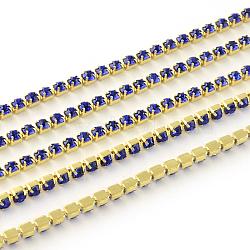 Chaînes avec strass en laiton sans nickel non plaqué, chaîne de tasse de rhinestone, 1440 pcs strass / bundle, Grade a, saphir, 2.2mm, 3.6 m / bundle(CHC-R119-S6-08C)