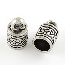 тибетский стиль концов столба сплава шнур, Торцевые крышки, кадмия и никеля и свинца, Старинное серебро, 16x10 mm, отверстия: 4 mm; Внутренний диаметр: 8 mm(X-PALLOY-S041-01AS-NR)
