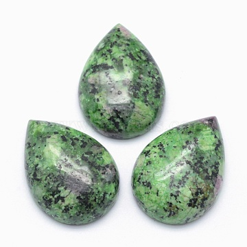 Natural Ruby in Zoisite Cabochons, teardrop, 25x18x7mm(X-G-E491-B-20)