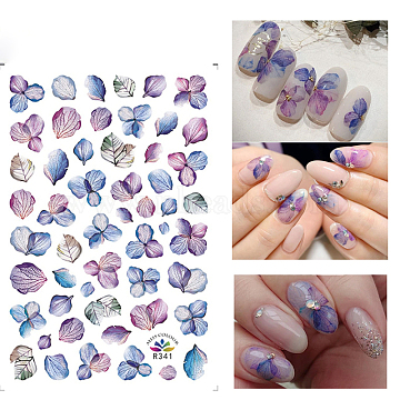 Nail Art Stickers, For Nail Tips Decorations,  Hydrangea Pattern, Colorful, 125x70mm(X-MRMJ-R066-10A)