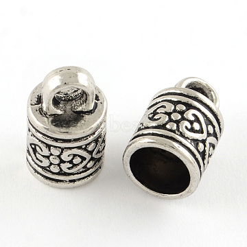 Tibetan Style Column Alloy Cord Ends, End Caps, Cadmium Free & Nickel Free & Lead Free, Antique Silver, 16x10mm, Hole: 4mm; Inner Diameter: 8mm(X-PALLOY-S041-01AS-NR)