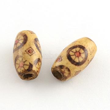 Printed Wood Beads, Oval, Peru, 14~15x8mm, Hole: 3mm(X-WOOD-R248-04)