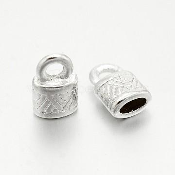 Tibetan Style Alloy Cord Ends, End Caps, Lock, Silver, Lead Free & Cadmium Free, 10x6.5x4.5mm, Hole: 2.5mm(K0PAR021)