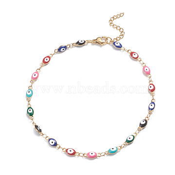 304 Stainless Steel Anklets, with Enamel and Lobster Claw Clasps, Evil Eye, Colorful, Golden, 9-5/8inches(24.5cm)(X-AJEW-G024-02G)