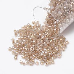 Miyuki® délicat perles, Perles de rocaille japonais, 11/0, (db1731) beige doublé opale ab, 1x1.5mm, trou: 0.5 mm; sur 2000 pcs / bouteille(SEED-S015-DB-1731)