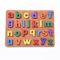 enfants en bois blocs de construction de bricolage, pour les jouets d'apprentissage et d'éducation, alphabet, couleur mélangée, 30x23x1.5 cm; 26 pcs / set(DIY-L018-20)