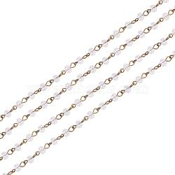 Handmade Glass Faceted Rondelle Beads Chains,with Glass Faceted Rondelle Beads and Iron Eye Pin, Unwelded, Antique Bronze, Clear, 6x4mm, about 1m/strand, 39.3 inches/strand(AJEW-PH00498-01)