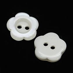 Boutons de résine de fleurs blanches, teint, 15x3mm, Trou: 1mm(X-RESI-D031-15mm-01)
