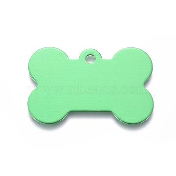 Pendentifs d'animal de compagnie en aluminium, estampillage d'une étiquette vierge, os, springgreen, 25x38x1mm, Trou: 3mm(ALUM-I002-06B)